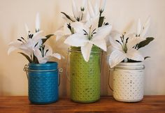 Painted Hobnail jars pick your colors by PineknobsAndCrickets