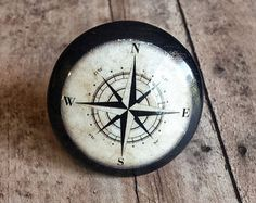 """HOLIDAY SALE Handmade Nautical Birch Wood Knob Drawer Pulls, Antique Style Compass Cabinet Pull Handles, 1.5"""" Sea Dresser Knobs, Made To Ord"""