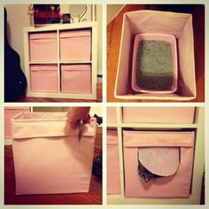 """Cat Training Litter Box """"Hidden litter box"""" Ikea hack: Place litter box in bottom cube, cut out a U-shape from one side, and leave the cloth to hang for some privacy :) Let's just hope my little guy remembers where it is! Hiding Cat Litter Box, Diy Litter Box, Hidden Litter Boxes, Litter Box Enclosure, Ikea Hacks For Cats, Cat Hacks, Kallax, Custom Woodworking, Woodworking Projects Plans"""