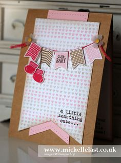 baby card using banners from Stampin Upuse  doted largepck paper banner