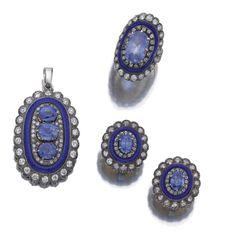 Enamel Diamonds & Sapphires Parure