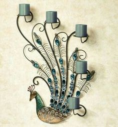 A Peacock's Jewel beauty can only be enhanced, never subdued. Heighten the beauty found within this unique metal wall candelabra with the flickering. Peacock Room Decor, Peacock Bathroom, Peacock Wall Art, Peacock Theme, Peacock Design, Peacock Crafts, Peacock Bedding, Peacock Canvas, Peacock Nails