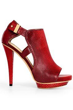 Burak Uyan Red Snake Effekt Cut-Out Ankle Boots Fall Winter 2012 #Shoes #Heels