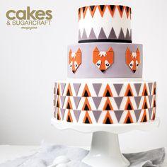 Graphic fox cake