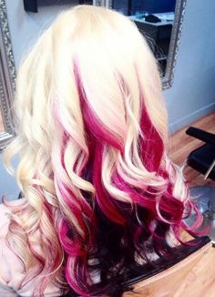 Pink and blonde dyed hair