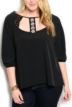 PLUS SIZE 1X 2X 3X Womens Top WAPI Solid Black Beaded Embellished Neck ¾ Sleeves #WAPI #Tunic #EveningOccasion