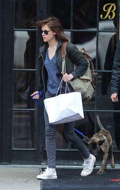 Kristen Stewart Takes Bear Out in NYC