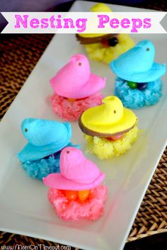 Peeps in a Basket | MomOnTimeout.com - Peeps are nestled in a coconut nest and placed in a cupcake liner basket.  So much fun for #Easter #peeps