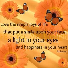 Love the simple joys of life that put a smile upon your face, a light in your eyes and happiness in your heart. Joy Of Life, Love Life, Secret Pal, Uplifting Thoughts, Positive Thoughts, Positive Quotes, Thought Of The Day, Just Smile, Spiritual Life