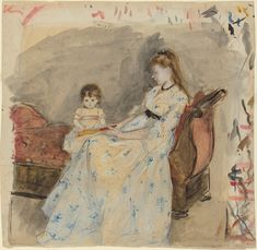 The Artist's Sister, Edma, with Her Daughter, Jeanne, 1872,By Berthe Morisot.
