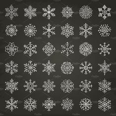 Ad: Winter Snowflakes Doodles by Olya.Creative on Winter Snowflakes Doodles in two variants: on Chalkboard Texture; Chalkboard Texture, Chalkboard Art, Chalkboard Doodles, Christmas Design, Christmas Crafts, Christmas Fabric, Christmas Tag, Tattoo Pulso, Creative Market