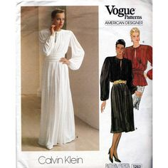 Vogue American Designer, Calvin Klein, A-line skirt and top, Vogue sewing patterns 1263, Bust 92 cms, 80s factory folded