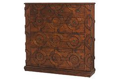 5-Drawer Carved Mahogany Chest