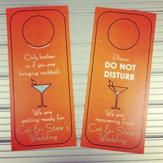 Custom made Wedding Door Hangers designed, printed and hand cut by wright4design sold on Etsy.com, $3.00 #grooms #bachelor #bachelorparty #giftbag #donotdisturb #2014 #orange #martini #bacheloretteparty #etsy #DIY #bachelorette #weddingplanner #gift #bag #customdesign #weddingwelcomebag #doorhanger #instawedding #diy #doorknob #diywedding #weddingidea #weddinggift #weddingfavor #giftbag #Etsywedding #destinationwedding #instabride #instawedding http://www.etsy.com/people/wright4design
