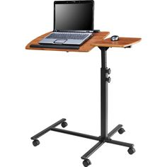 Adjustable Height Laptop Computer Standing Desk Cart with Wheels - Quality House