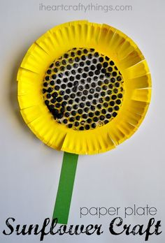 Paper Plate Sunflower Craft. Yellow paper plate. Cut slits around. Paint bubble wrap black or brown and cut into circle and glue to center of plate. Glue on green stem cut from card stock or construction paper.