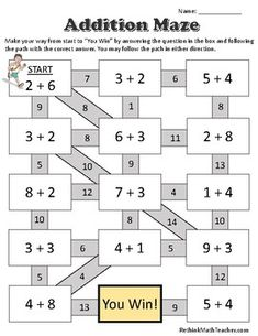 Maze Worksheets - Single digit addition, double digit addition, single digit subtraction, and double digit subtraction. One of each, answer sheets included. Mental Maths Worksheets, First Grade Math Worksheets, Maths Puzzles, 1st Grade Math, Math Addition Games, Addition And Subtraction, Maze Worksheet, Grande Section, Math For Kids