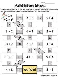 Maze Worksheets - Single digit addition, double digit addition, single digit subtraction, and double digit subtraction. One of each, answer sheets included. Mental Maths Worksheets, First Grade Math Worksheets, Maths Puzzles, 1st Grade Math, Math Activities, Math Addition Games, Addition And Subtraction, Maze Worksheet, Grande Section