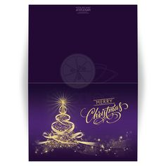 Best purple and gold merry christmas card with tree of lights, stars and ribbons.