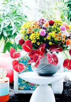 Wie het interieur een creatieve en energieke boost wil geven volgens de stijltrend 'More is More' mixt verschillende soorten en kleuren chrysant met elkaar. Bouquet Champetre, Outdoor Settings, Chrysanthemum, Floral Arrangements, Garland, Glass Vase, Tropical, Table Decorations, Interior