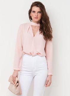 Clean Cut-Out Blouse #cutout #blouse #blush #Pink #spring #gojane