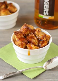Bread Pudding with Salted Caramel Whiskey Sauce - Garnish with Lemon