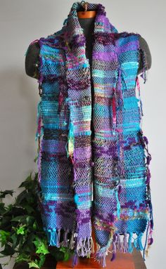 Hand Woven Saori Style Scarf Shawl by glimpseart on Etsy, $95.00