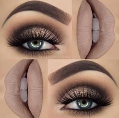 Smoky brown matte makeup look. More