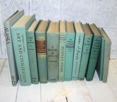 Mint Green Books Instant Library Collection Vintage Decorative Books Photography Props Teal Blue Green Aqua Turquoise. $60.00, via Etsy.
