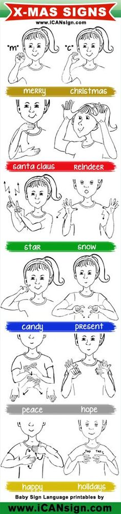 Baby Sign Language - ASL Christmas Signs chart