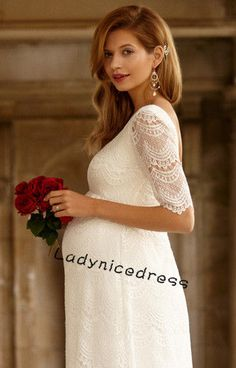 Appliques Lace Half Sleeve Wedding Dress For Pregnant Women Custom Bridal Gown