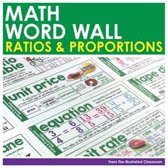 Here's a set of math word wall cards on the topic of ratio and proportion.