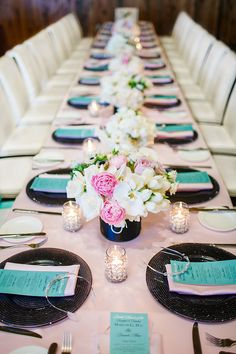 Girly Tiffany's themed bridal shower. Love the tiaras on each place setting!