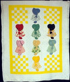 """""""Sunbonnet Sue or Traditional Sue"""" quilt by Magdaline A. Miller Bargmann, estimated date of 1902; Nebraska, USA. Very historic and vintage."""