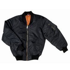MA-1 Flight Jacket Replica Black - This is a replica of the classic USAF nylon flight jacket... the MA-1! This popular jacket protected pilots for decades.