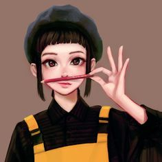Anime picture with original jungon single short hair looking at viewer black hair smile simple background brown eyes holding lips eyebrows eyelashes payot portrait upper body nose brown girl beret Anime Character Drawing, Character Illustration, Character Art, Illustration Art, Illustrations, Manga Girl, Anime Art Girl, Kawaii, Cute Cartoon Girl