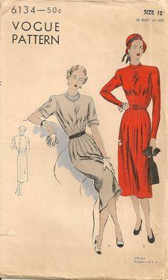 Vintage 1940's Dress Pattern Vogue 6134 by SewPatterns on Etsy