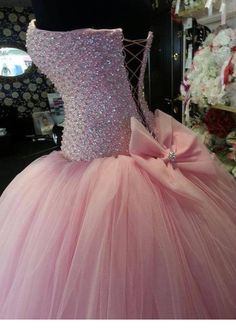 Proncess Sweetheart Ball Gown Sweep Train Crystal Beaded With Bow Lace Up Back Pink Tulle Wedding Dresses 2014 New Arrival on Chiq $239.00 http://www.chiq.com/proncess-sweetheart-ball-gown-sweep-train-crystal-beaded-bow-lace-back-pink-tulle-wedding-dresses-2