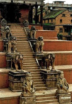 steps + statues, durbar square, nepal (1978)   exterior stairs + travel photography