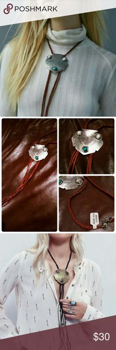 NWT Free People Montana Leather Bolo Necklace Boho. Color is as pictured in photo 2; photo 3 is just a demo of how it looks full body. NO TRADES Free People Jewelry Necklaces