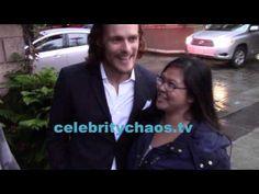 Outlander actor Sam Heughan jokes around with fans in rain outside BAFTA TEA PARTY - YouTube