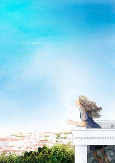 Sky n wind 🌺 Cute Girl Drawing, Cute Drawings, Aesthetic Art, Aesthetic Anime, Girl Cartoon, Cartoon Art, Anime Scenery, Anime Art Girl, Cute Illustration