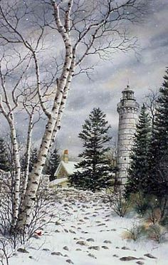 Cana Island Lighthouse, a limited edition print of a watercolor painting by Kathy Glasnap of Door County, Wisconsin Lighthouse Art, Cottage In The Woods, Watercolor Paintings, Wood Paintings, Watercolours, Love Painting, Learn To Paint, Winter Scenes, Art Pictures