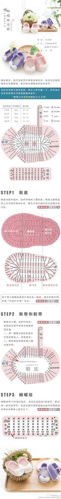 Crochet Cute Shoes - Chart ❥ 4U hilariafina http://www.pinterest.com/hilariafina/