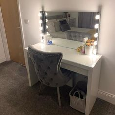 I finally have my dressing table Im so pleased. Bedroom Decor For Teen Girls, Small Room Bedroom, Room Ideas Bedroom, Dressing Room Decor, Dressing Room Design, Makeup Room Decor, Led Wall Lamp, Home Room Design, Beauty Room