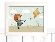 """Kinderbild """"Drachen"""" (Poster Kinderzimmer)  von Pipapier auf DaWanda.com"""