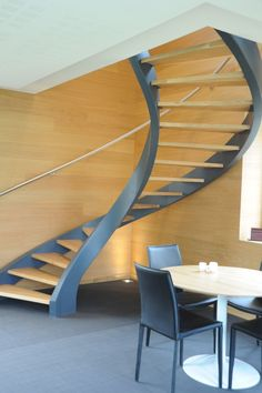 Impressive Staircase Design Inspiration 133 beton Amazing A' Architecture, Building and Structure Design Award Winners Staircase Architecture, Staircase Handrail, Curved Staircase, Modern Architecture, Home Stairs Design, Interior Stairs, Modern Minimalist House, Minimalist Interior, House Design