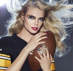 PITTSBURGH STEELERS fans, get your Covergirl #GAMEFACE on! (Get the Look at covergirl.com/NFL: Liquiline Blast Eyeliner - Black Fire, Flamed Out Shadow Pencil - Red Hot Flame, Flamed Out Shadow Pot - Sapphire Flare, Outlast Stay Brilliant Nail Gloss - Goldilocks, Diva After Dark)