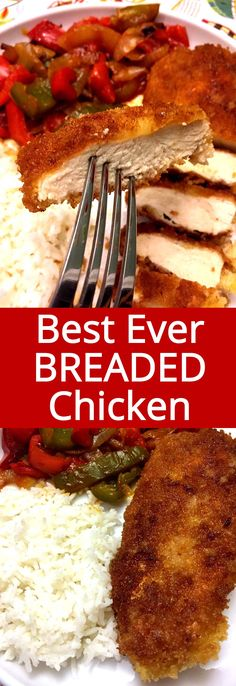 So golden and crispy, just the way breaded chicken has to be! This is my favorite pan-fried breaded chicken breast recipe! chicken recipe Easy Crispy Pan-Fried Breaded Chicken Breast Recipe – Best Ever! Fried Breaded Chicken, Breaded Chicken Recipes, Fried Chicken Breast, Easy Chicken Recipes, Turkey Recipes, Baked Chicken, Chicken Breasts, Dinner Recipes, Crispy Chicken