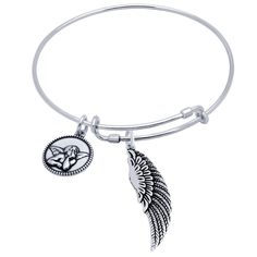 """Sterling silver expandable bangle bracelet adorned with wing and angel charms. You wear it as is or you can add on other expandable bracelets and charms. Wire charm bangle, expandable 7"""" to 8"""" s the f"""